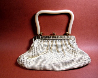 Whiting and Davis mesh evening bag purse midcentury 1950s
