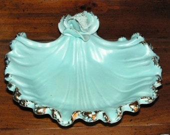 Vintage California Aqua Vanity Dish Hollywood Regency 1940s 50s