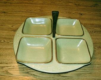 Vintage California Pottery teak handled serving dish