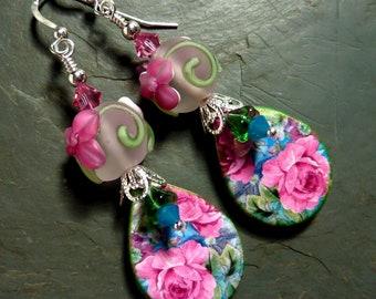 Roses & Roses Earrings,  Pink Floral Earrings, Pink Flower Earrings, Handmade , Spring Summer