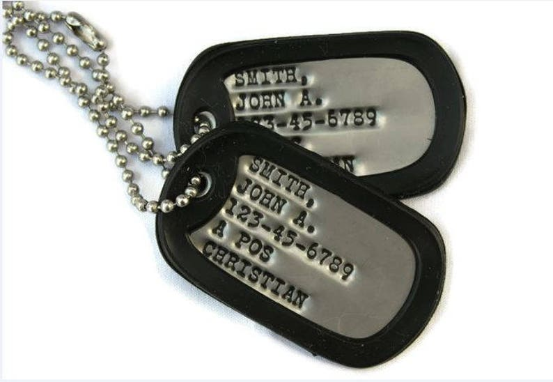 Real Debossed Military Dog Tags Dogtags Custom Personalized Made In USA For You