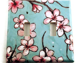 Double Switch plate in  Watercolor Blossoms  (170)