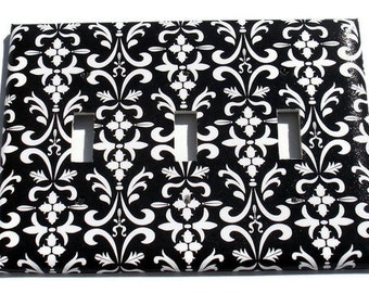 Light Switchplate Cover Wall Decor  Triple Switchplate Switch Plate in  Black Damask  ( 179T)