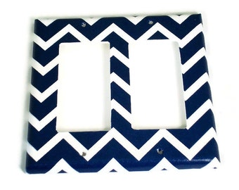 Double Rocker Light Switch Cover  Switch Plate Switchplate in Navy Chevron   (208DR)