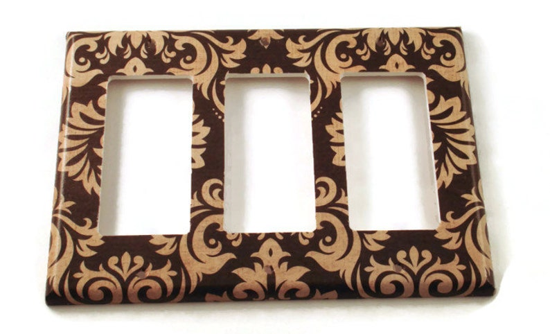 089TR Triple Rocker Light Switch Covers  Switchplate Switch Plate in Black and Tan Damask