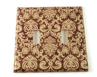Double Switch Plate in Brown and Cream Damask (221)