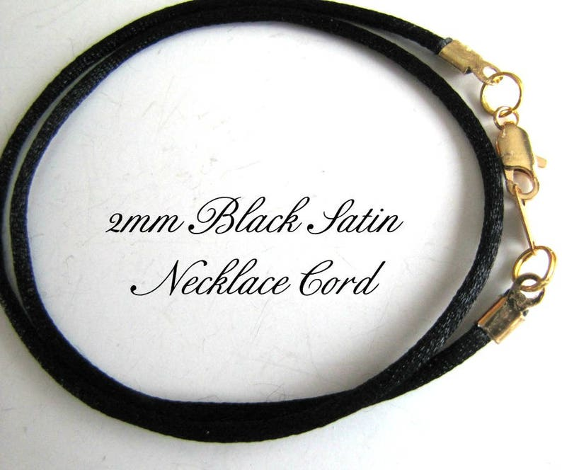 Choker Necklace Custom. Gold Lobster Unisex Silver Charm Cord 12 to 24 inch Antique Brass Pendant Cord Black Satin Necklace Cord