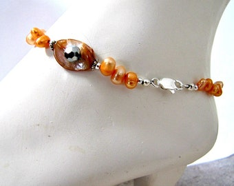 Anklet, Dancing Fresh Water Pearls,  Beaded Orange Anklet, Foot Jewelry, Body Jewelry, Lobster Claw,  size 9.5 inches, Item#1375