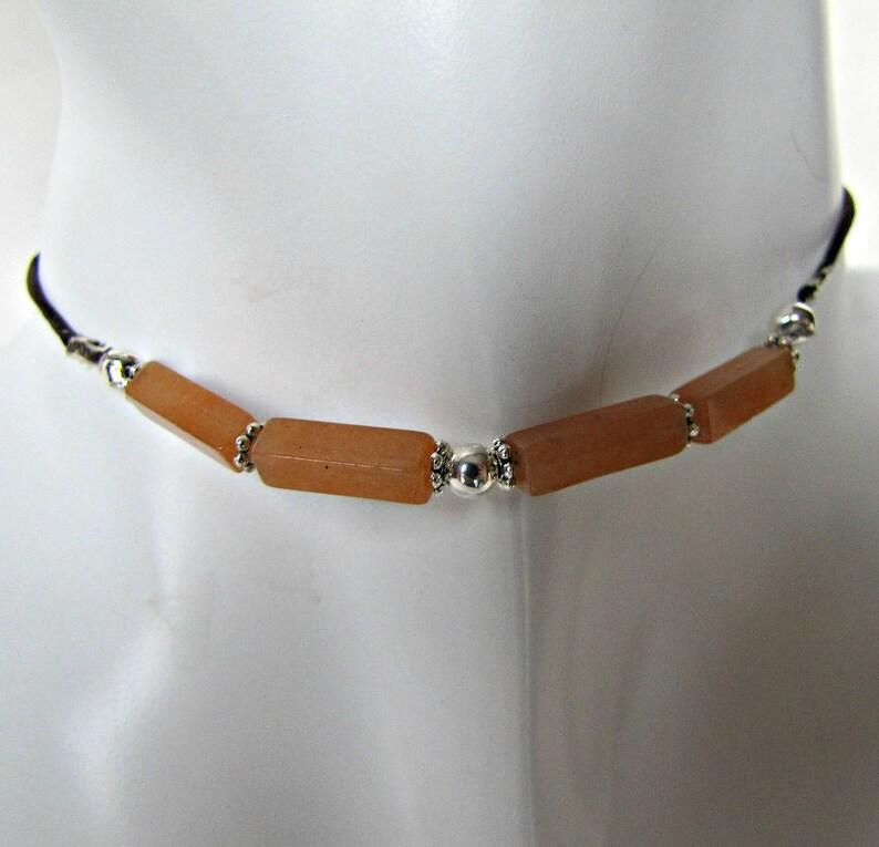 #1275 BOHO Choker Necklace Body Jewelry Reddish Orange Gemstone MInimalist Bohemian Beaded Choker Necklace Aventurine Choker