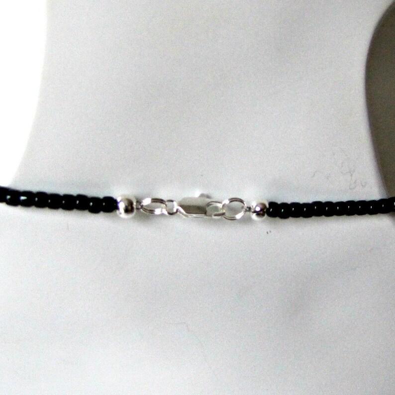 Choker extender#1296 Dangle Earrings Black Agate Pendant Beaded Gemstone Choker 16 inch Black Onyx Choker Necklace and Earrings Set