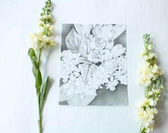 Tulips Pencil Drawing - 8x10 print