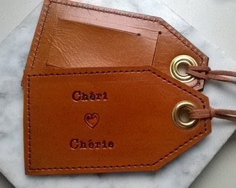 Chéri heart Chérie - Darling/Sweetheart leather luggage tag with privacy flap on reverse side - 3rd Anniversary