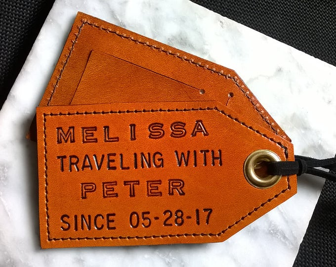 Featured in Country Living - His and Hers - 3rd Anniversary - Personalized - Traveling with... since Leather Luggage Tags - set of 2