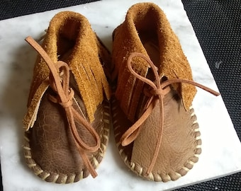 Personalized - All Leather Baby Mocassins - Fits a 3 Month Old Baby