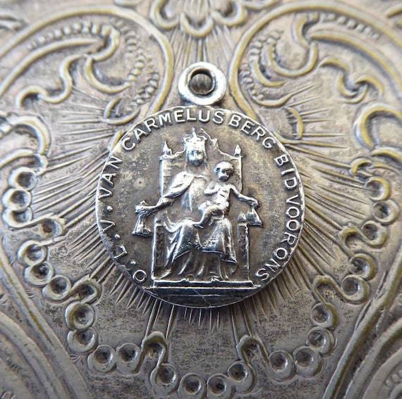 Very Rare Old Dutch Catholic Scapular Silver Medal Our Lady Of Etsy