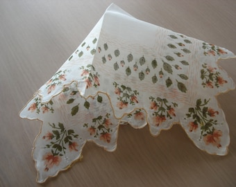 Vintage Floral Hankie - Peach Flowers & Green Leaves - Scalloped Hem - #430