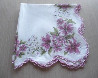 Vintage Floral Hankie - Purple Day Lilies - Scalloped Hem - #425