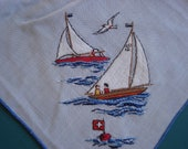 Vintage Hand Embroidered Hankie - Sailboat Scene - Unused - 462