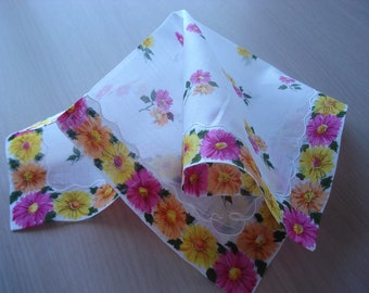 Vintage Floral Hankie - Pink, Orange, Yellow Flowers - #442