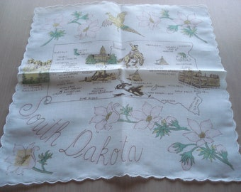 Vintage South Dakota Souvenir Hankie - Landmarks - Cities - Points of Interest - #426