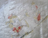 Antique Silk Children 39 s Hankie - Humpty Dumpty - Nursery Rhymes - 369