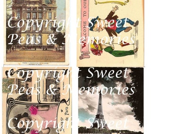 Parisian Welcome Digital Collage Sheet