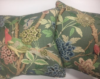 Pair GP & J Baker Hydrangea Bird Dark Green Linen Cushion Covers