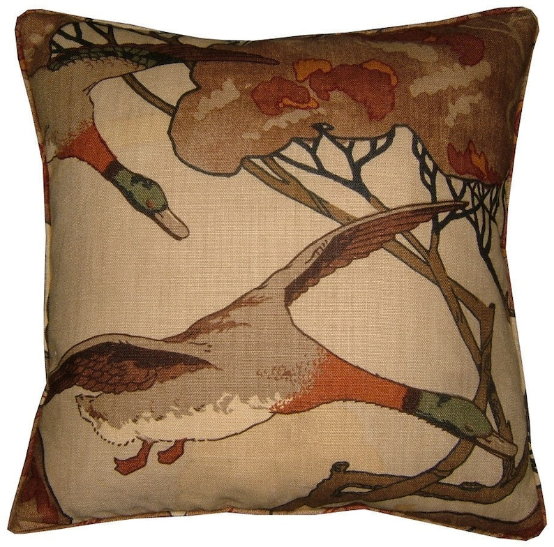 Mulberry Flying Ducks Cushion Pillow Cover 18 in the image 0