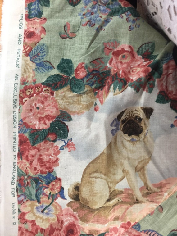 Lee Jofa Pugs and Petals Linen Fabric Free Worldwide Shipping RARE DISCONTINUED