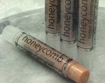 Honeycomb Tinted Lip Shimmer, Golden Honey Flavored Tinted Lip Balm