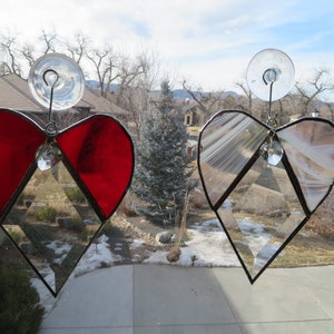 Red Heart of Texas Suncatcher on a Circle Bevel made with stained glass