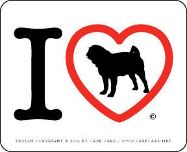 I Love Pugs sticker black pug image 0