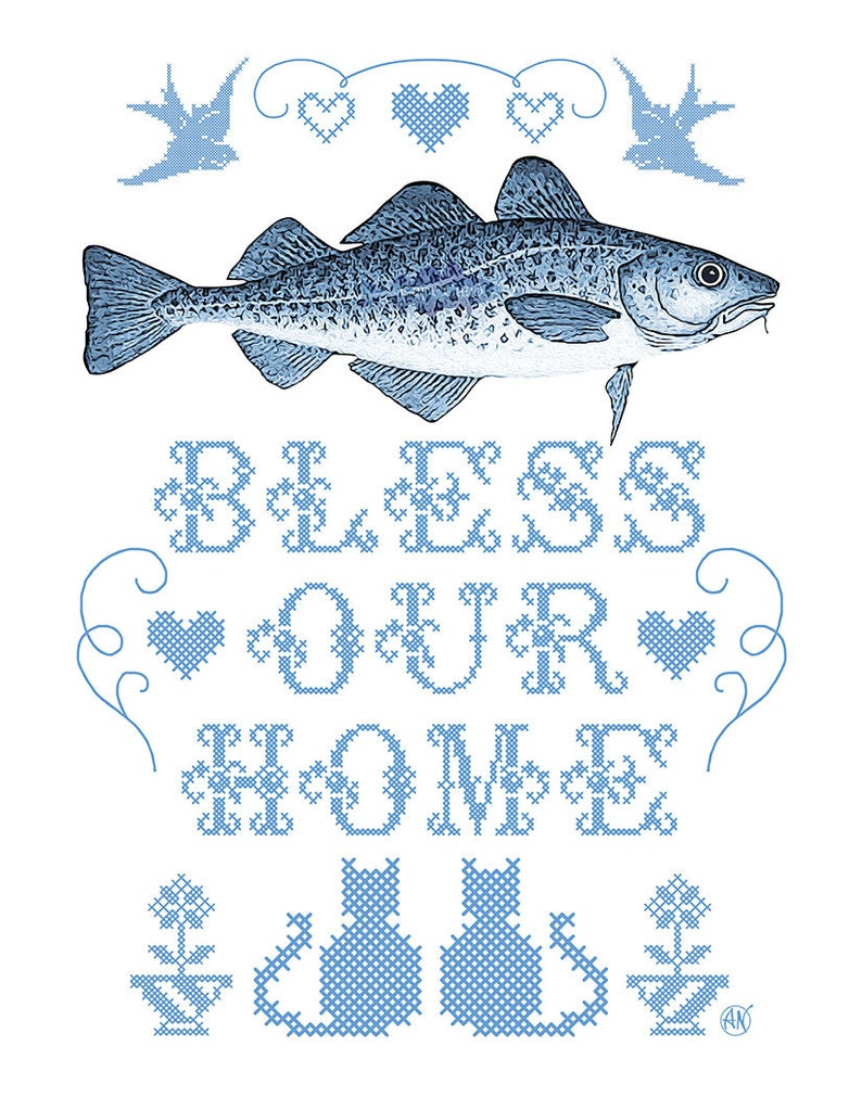 Cod Bless Our Home 10x8 giclée print image 0