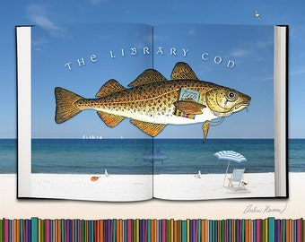 The Library Cod 10x8 inch print