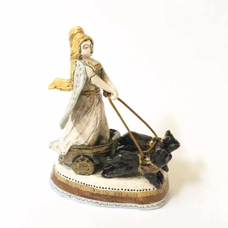 Freya The Norse Goddess Of Love War And Death With Her Cat Chariot Miniature Handmade Ceramic Statuette