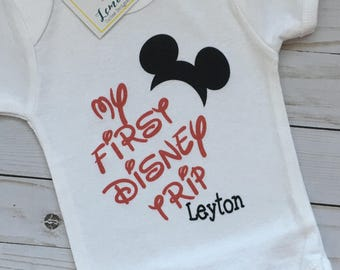 My first Disney Trip family tees with name