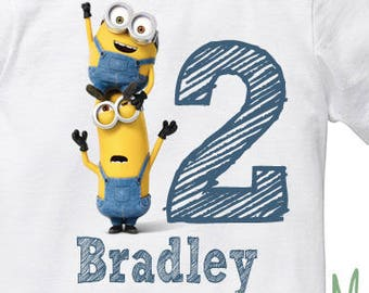 Despicable Me Minion Birthday t shirt with name and age digit
