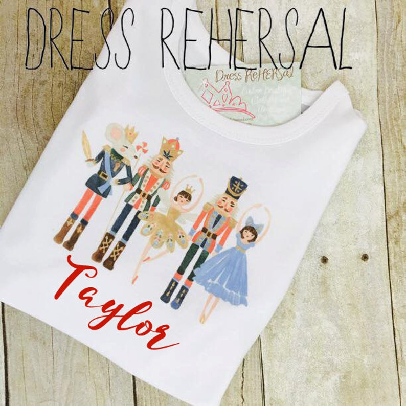 Nutcracker Ballet shirt personalized with name for little image 0