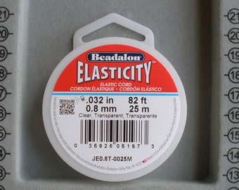 25 m 0.5 mm Clear 82 ft 1 spool Beadalon Elasticity Stretch Cord .020 in