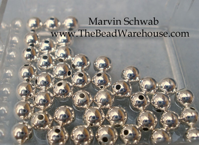 Sterling Silver 4mm Round Beads Seamless Construction 50 pc