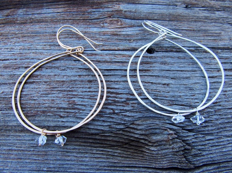 Recycled Gold Fill dangle earrings Circle Herkimer diamond