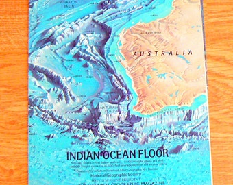 Ocean floor map etsy 1967 map of indian ocean floor by national geographic society gumiabroncs Choice Image