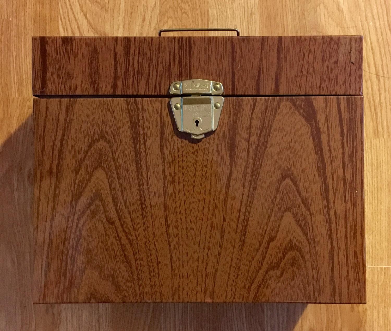 vintage 1960s ballonoff porta file metal file box faux etsy. Black Bedroom Furniture Sets. Home Design Ideas