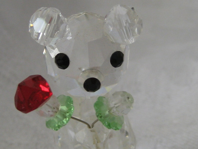 VINTAGE Tiny Crystal Bear with Heart Flower Vanity Shelf Adornment Accessory Home Living Decor