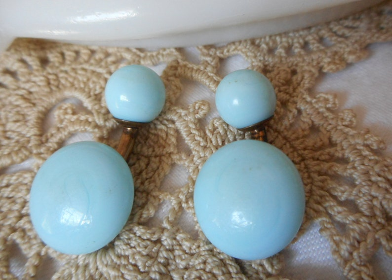 Set VINTAGE Double Light Blue Glass Signed 8 Metal Cuff Link Men Womens Shirt Accessory Costume Clothing Upcycle Repurpose Jewelry