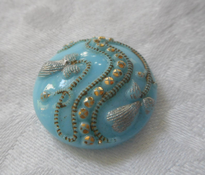 ANTIQUE VINTAGE 1316 Robins Egg Blue Tinted Fancy Glass Adorn Embellish Clothing Sewing Supplies Craft Finding Closure Fastener Button
