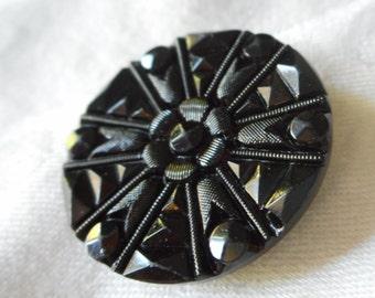 ANTIQUE Faceted Wheel Spoke Design Black Glass BUTTON