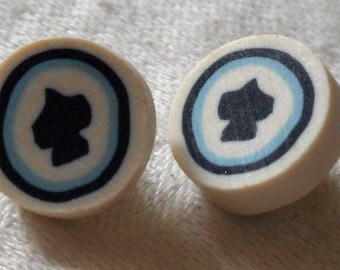 Set of 2 Small VINTAGE Black Spade Fimo BUTTONS