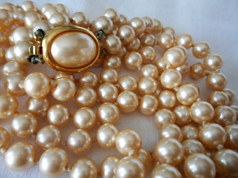 VINTAGE Double Strand Signed Crown Trifari Faux Pearl Jewelry Necklace  P1