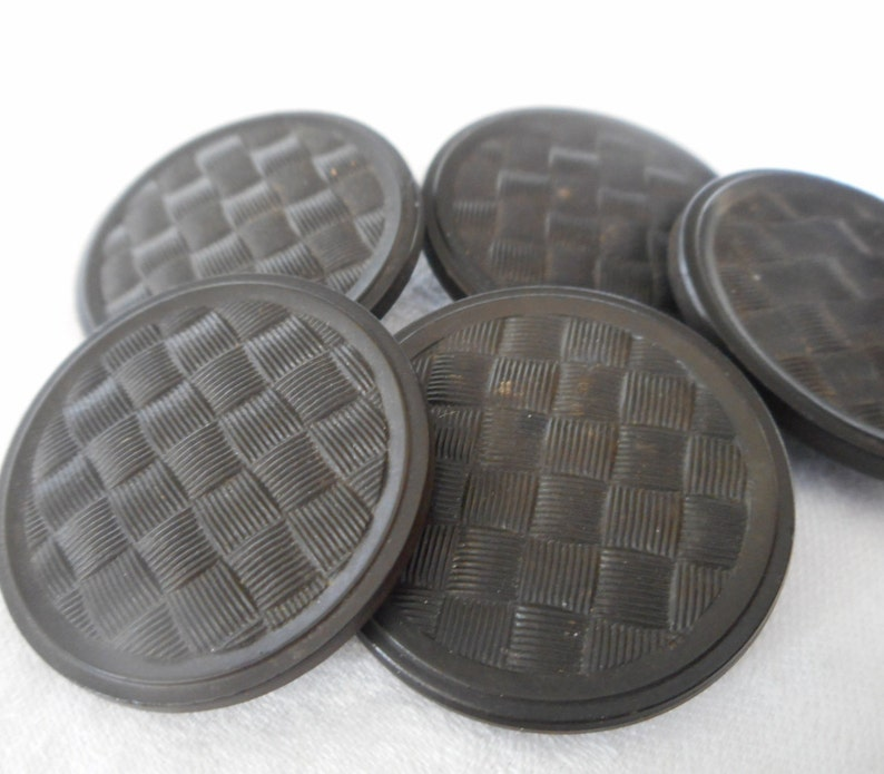 Set of 5 ANTIQUE VINTAGE 1  14\u201d Large Texture Weave Design Black Goodyear Rubber Collectible Sewing Supply Finding Closure Fastener BUTTONS